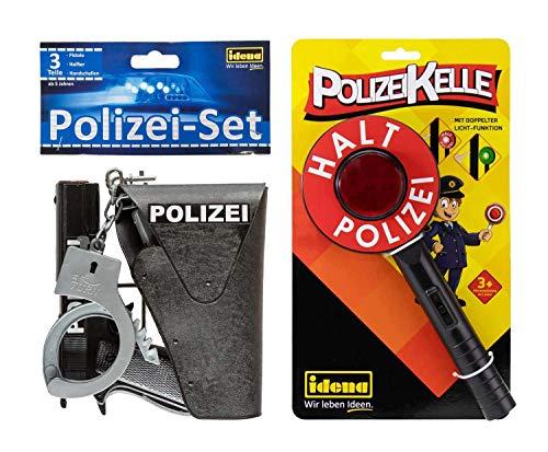 Idena - Polizei Set, Pistole, Halfter, Handschellen und Polizeikelle mit Lichtfunktion