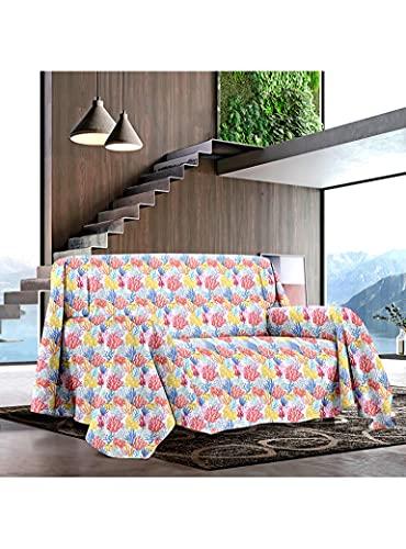 Funda de sofá para cama de matrimonio grande foulard con estampado marino de Coral Beach 2 (matrimonial)