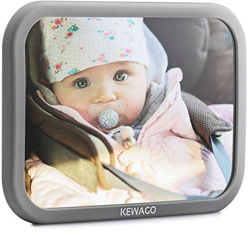Kewago Autospiegel Baby - Rücksitzspiegel für Babys. Bruchsicher mit großem Sichtfeld - Babyspiegel für den Rücksitz in Cool Gray