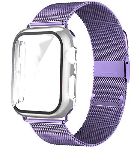 CMYYFA Cristal+carcasa+correa para correa de reloj de 44 mm, 40 mm, 38 mm, 42 mm, accesorios de metal milanés, correa para reloj serie 6, 5, 4 Se (color de la correa: lila, ancho de la correa: 38 mm