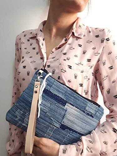 Bolso de mano pactwork denim, diseñado con retales denim y tela japonesa...