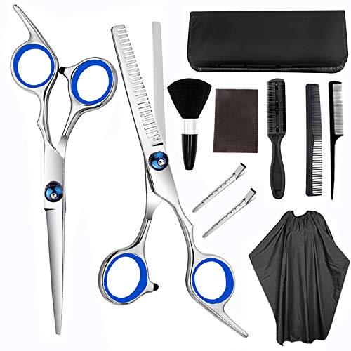 JIARUN Juego de Tijeras de peluquería casera, Tijeras de barbero, Tijeras de Adelgazamiento, Bolsa de cizallas, Clips de Cabello y Otros Accesorios (11pcs) 6,0 Pulgadas
