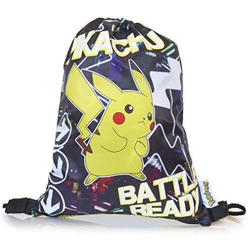 Pokémon licht in het donker rugzak, sporttas | grote rugzak met Pikachu | Pokemon trekkoordtas, turnhalle, zwemschooltas voor kinderen met fluorescerende tekst