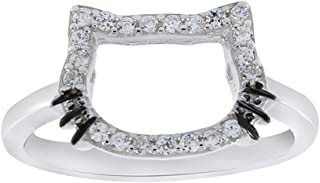 Cute Hello Kitty Face Outline Cubic Zirconia Engagement Ring in 925 Sterling Silver