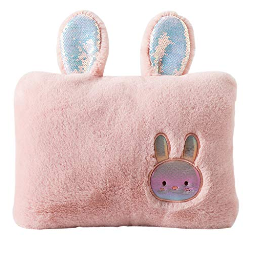 FEANG Winter Hot Water Bottle Explosion-proof Rechargeable Hand Warmer Pocket Portable Electric Hot Water Bag with Plush Cover Gifts for Girls (Color : Pink)