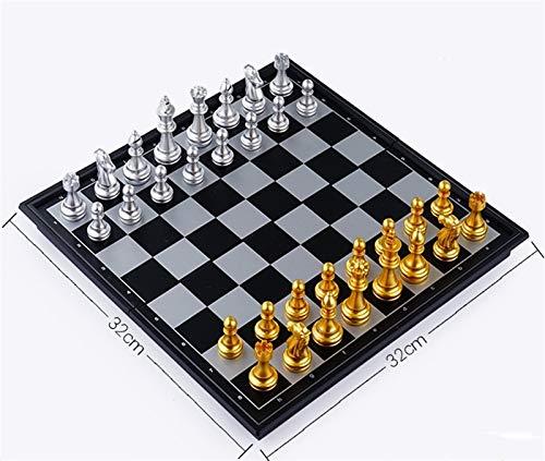 RHGEIUCY Rangeiucie Schach, leicht zu tragen Schwarzweiß-Festplatten-faltbares Schachbrett Nicht leicht zu gleiten, stark und langlebig (Color : B, Size : Medium)