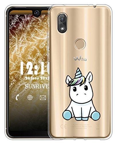 Sunrive Für Wiko View 2 Pro Hülle Silikon, Transparent Handyhülle Schutzhülle Etui Hülle für Wiko W_C860 (6,0 Zoll) View 2 Pro(TPU Einhorn 3)+Gratis Universal Eingabestift