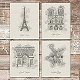 Paris Landmarks Art Set (Set of 4) - Unframed - 8x10s