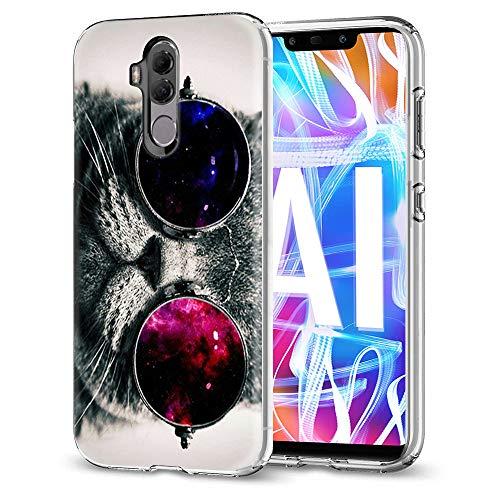Eouine Huawei Mate 20 Lite Hülle, Schutzhülle Silikon Transparent mit Muster Motiv Handyhülle  Ultra Dünn] Slim Stoßfest Weich TPU Bumper Case Backcover für Huawei Mate 20 Lite (Katze)