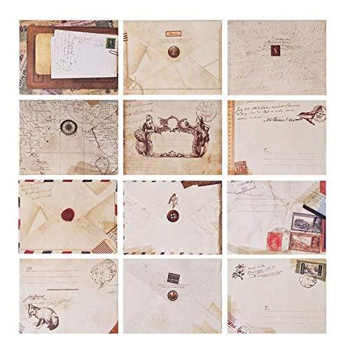 Mini Briefumschläge Bunt, 120 Pcs Kleine Karten Mit Umschlag, Umschläge Klein Bunt, Mini Karten Vintage für Geldgeschenke, Hochzeit Geburtstag, Baby, Abschluss, Weihnachtskarten, Bastelarbeiten