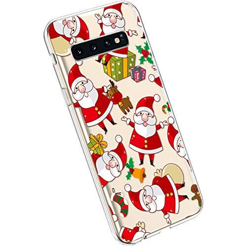 Ysimee Compatible avec Samsung Galaxy S10 Coque Transparent avec Motif Série de Christmas Etui en Silicone Souple Antichoc Ultra Mince Doux Case Housse de Protection Crystal Clear Cover,Le Père Noël