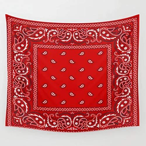 N/A Tapiz De Impresión Paisley Bandana Rojo Southwestern Boho Tapiz Tapices para Colgar En La Pared Colcha Arte De La Pared Manta Toalla Cortina De Ventana