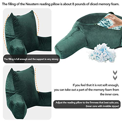 Neustern Reading Pillows with Support Arms, Premium Shredded Memory Foam TV Backrest with Washable Cover (Dark Green)