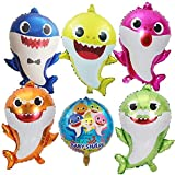 Wensty Baby Shark Balloons,6PCS Shark Family Balloons for Party Decorations,Baby Themed Birthday Decorations Party Supplies