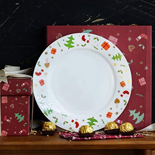 IREANJ Juego de vajillas de Cena de Navidad de cerámica Placa de Ensalada de Fruta-Platos de Postre, Simplemente Bellas Chirp Ensalada/Almuerzo Plate, Platos de Postre Partido de Accesorios de