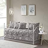 Madison Park Daybed Cover Set-Trendy Design All Season Luxury Bedding with Bedskirt, Matching Shams, Decorative Pillow, 75'x39', Leila, Medallion Tufted Dark Gray 6 Piece