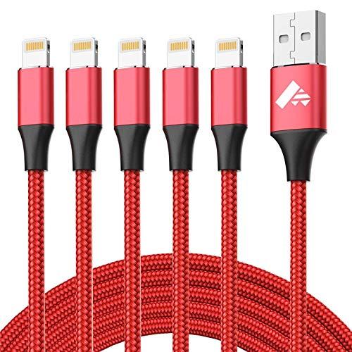 Aioneus Cargador iPhone 5Pack Cable iPhone (1+1+1.5+1.5+2) M Cable Lightning Carga Rapida Compatible con iPhone X 8 8 Plus 7 7 Plus 6s 6s Plus 6 6 Plus 5 5s SE iPad- [Certificado MFi] -Rojo