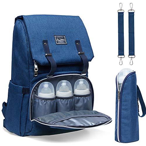 Baby Wickelrucksack Wickeltasche KAUKKO Multifunktional Mama Rucksäcke Große Kapazität Babytasche Passform für Kinderwage (Blau)