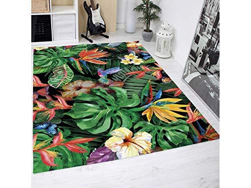 Oedim Tapis Carpette en PVC Motifs De Plantes Exotiques Fleurs Tropicales Papillon Colibri   95 cm x 200 cm   Déco Maison