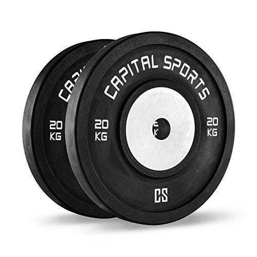 Capital Sports Inval Competition Coppia Dischi per Bilancieri Sollevamento Pesi da Competizione (2 x 20 kg, Nucleo in Alluminio, Attacco 50,4 mm)