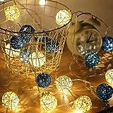 Lámpara de decoración interior led tailandesa bola de ratán linterna cadena sala de estar decoración de vacaciones de navidad lámpara @ White rattan ball_5 metros 20 luces (sin batería, 3 pilas AA)