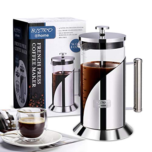 French Press Coffee Maker  304 Grade Stainless Steel Coffee Maker  4 Level Filtration System  Heat Resistant Borosilicate Glass  Coffee Press 34oz Bistro@Home