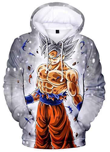 Silver Basic Sweat-Shirt à Capuche Garçon Dragon Ball Super Pull 3D Enfant Unisexe Sweat Goku XXS,1-Son Goku Ultra Instinct