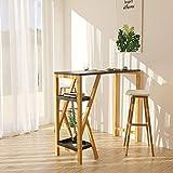 SoBuy FWT56-SCH Design Bartisch Stehtisch Bartresen Küchentheke Bambus Küchenbar mit 2 Regalfächern schwarz BHT ca.: 122x107x45cm