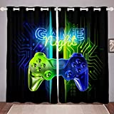 GOOESING Game Gamer Video Game Room Teens Gaming Blue Green Neon Gamepad Blackout Window Curtains Home Decor Fashion Curtains for Living Room Bedroom (Set of 2 Panels - 42Wx63L)