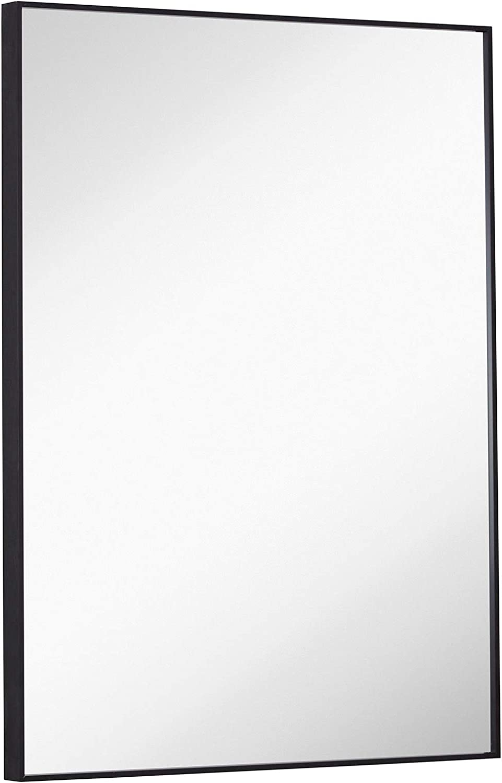 Hamilton Hills Black Brushed Cheap mail order sales Metal Arlington Mall Edge Vanity Mir Mirror Simple