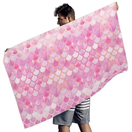 Ballbollbll Toallas de playa de escamas de pescado rosa para el gimnasio de la cubierta conveniente de la natación Ups para hombres mujeres blanco 150x75 cm