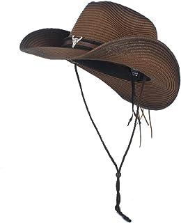 Fashion Hats, Caps,Elegant Hats, Natural Caps Women Men Western Straw Cowboy Hat Handmade Weave Straw Lady Dad Sombrero Hombre Cowgirl Jazz Caps Bull Head Band Size 56-58CM