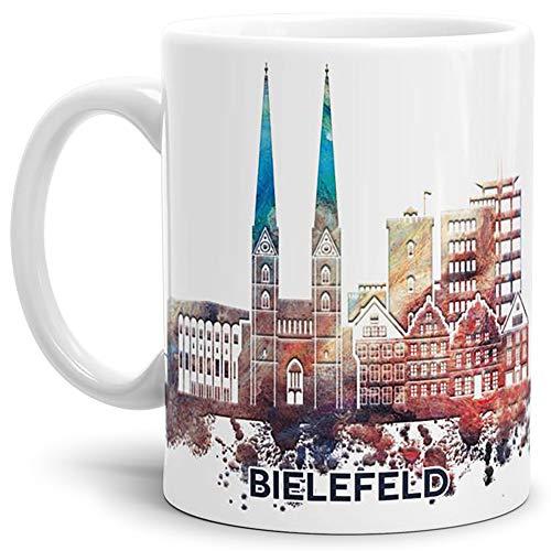 Tassendruck Bielefeld-Tasse Skyline - Kaffeetasse/Souvenir/Silhouette/Städte-Tasse/Mug/Cup/Becher/Beste Qualität - 25 Jahre Erfahrung - Weiss