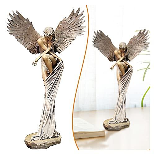 YTNGYTNG Ornement de Bureau Creative Vintage Angel Statue Abstrait déesse Statues Résine Desktop Angel Décoration d'aile pour Salon Chambre à Coucher Jardin (Farbe : Angle, Größe : L)