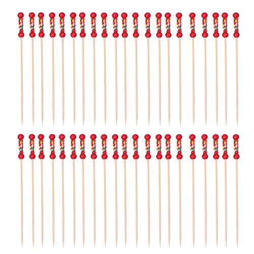 DOITOOL Dessert Forks 100pcs Beautiful Double Bead Shape Design Picks Creative Disposable Fruit Food Picks Decorative Cocktail Drink Picks Handy Bamboo Forks for Party Supplies Home (Red)