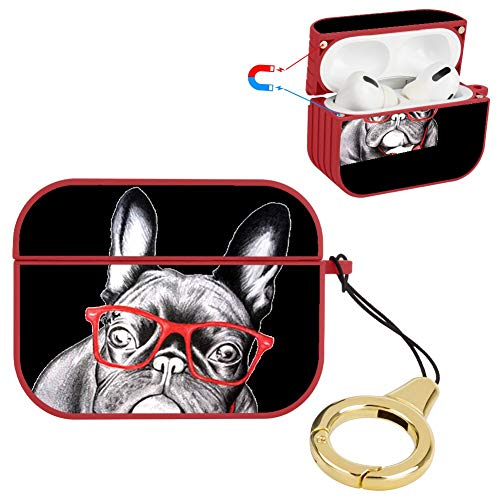 AirPods Pro French Bulldog Hard Plastic Stylish Case Shockproof 360 Protective Cover Personality Anti-Scratch Magnet Lock and Ring Shell (Red)