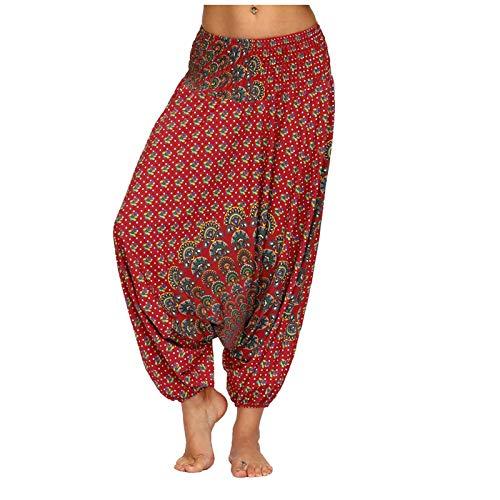 Pantalones de mujer Pantalones de harén con estampado de verano Pantalones bombachos de cintura elástica Pantalones largos Pantalones de baile sueltos de pierna ancha ocasionales Talla única B
