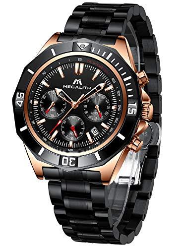 MEGALITH Herren Uhr Männer Chronographen Militär Schwarz Wasserdicht Edelstahl Elegant Armbanduhr Design Business Große Analog Modern Uhren