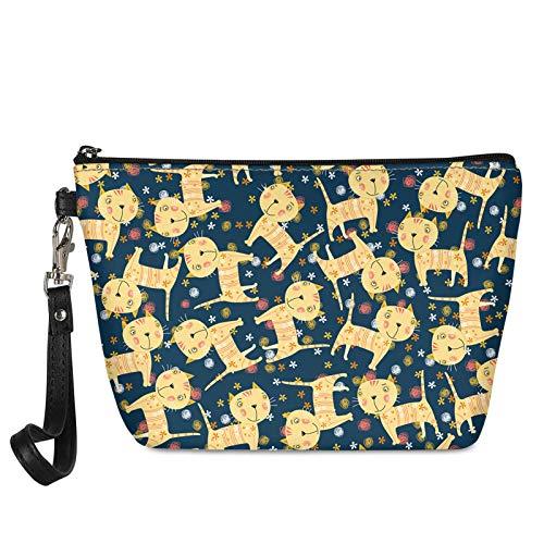 HUGS IDEA Bolsa de cosméticos con mango estampado floral Boston Terrier para mujer, Gato de dibujos animados. (Multicolor) - Z8