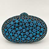 XLJJB Bolsos Azul Pavo Real Mujeres Embrague De Cristal Bolsos De Noche De Flores Bolsos Florales De Boda Bolso De Fiesta Nupcial Fit7 Bolso De Cristal Azul