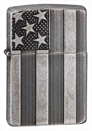 Zippo Armor American Flag Pocket Lighter, Antique Silver Plate, One Size