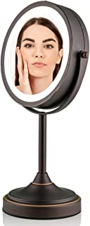 Ovente LED Lighted Tabletop Makeup Mirror, 7 Inch, Dual-Sided 1x/7x Magnification, Antique Bronze (MCT70BZ1X7X)