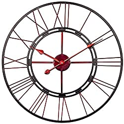 BEW Large Decorative Wall Clock, Vintage French Industrial Iron Metal Roman Wall Clock, Silent Battery Operated Hanging Clock for Home, Living Room, Farmhouse, Kitchen, Den - 24 Inch, Slim Red