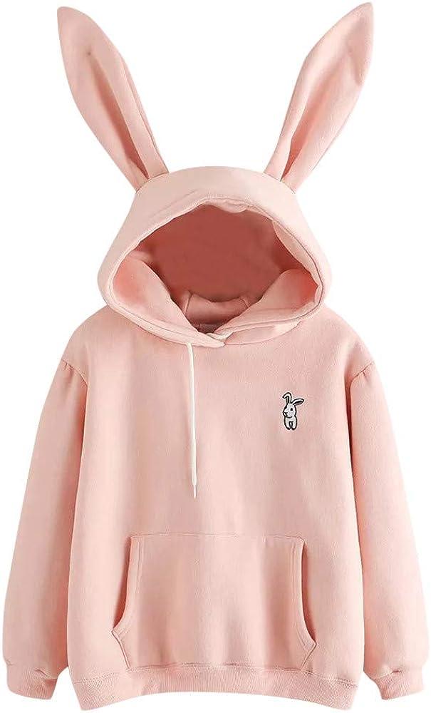 Fastbot Women's Winter Warm Hoodie Cute Sweatshirt Rabbit Ear Pullover Jacket Outerwear Long Sleeve with Pockets Pink