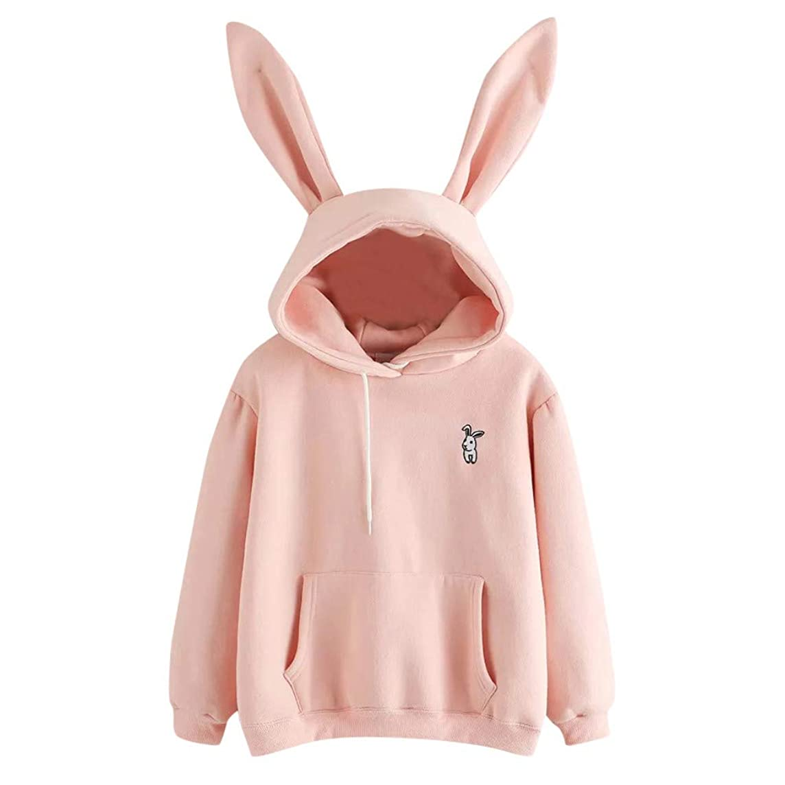 Sunhusing Ladies Cute Rabbit Ear Long Sleeve Hoodie Solid Color Embroidery Pullover Sweater