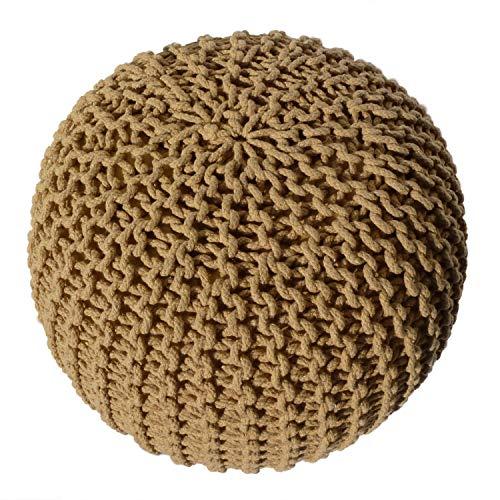casamia gebreide kruk Pouf zitpoef grof gebreide optiek Ø 55 cm extra hoog hoogte 37 cm mosterdgeel - speciale kleur