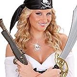 NET TOYS Totenkopf Kette Piraten Halskette Silber Totenschädel Anhängerkette Strass Skull Halsschmuck Punkrock Hals Schmuck Halloween Kostüm Accessoire