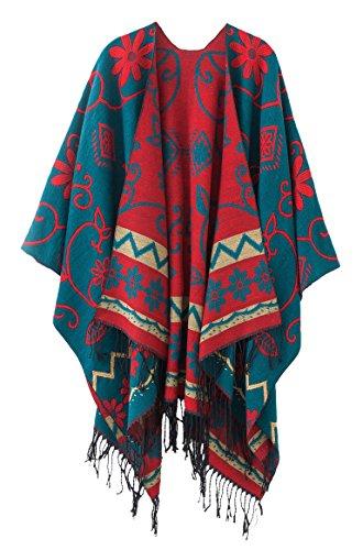 Schicker Damenponcho, Vintage-Umhang mit Schal und Quasten, traditionelles Muster Gr. One size, dunkelgrün