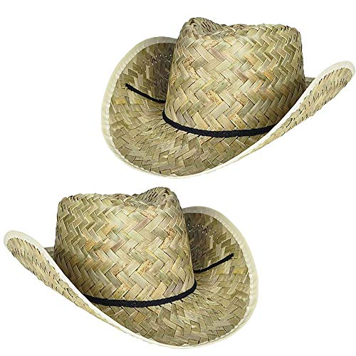 2 Straw Cowboy Hats for Men   Western Costume Accessory or Ranch/Rodeo Birthday Party Favors   One Size Fits Most (2 Pack)