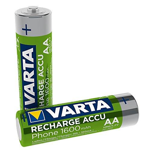 VARTA Recharge Akku Phone Accu AA Mignon Ni-Mh Accu (2er Pack, 1600 mAh, geeignet für schnurlose Telefone)